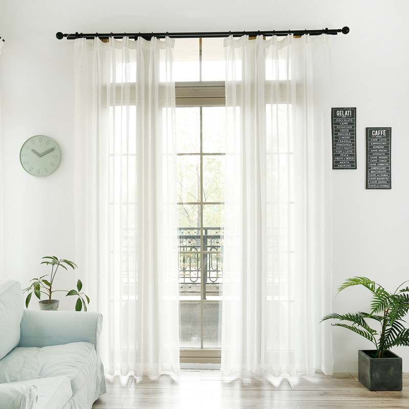 Basic Style White Voile Curtain For Bedroom Linen Looks