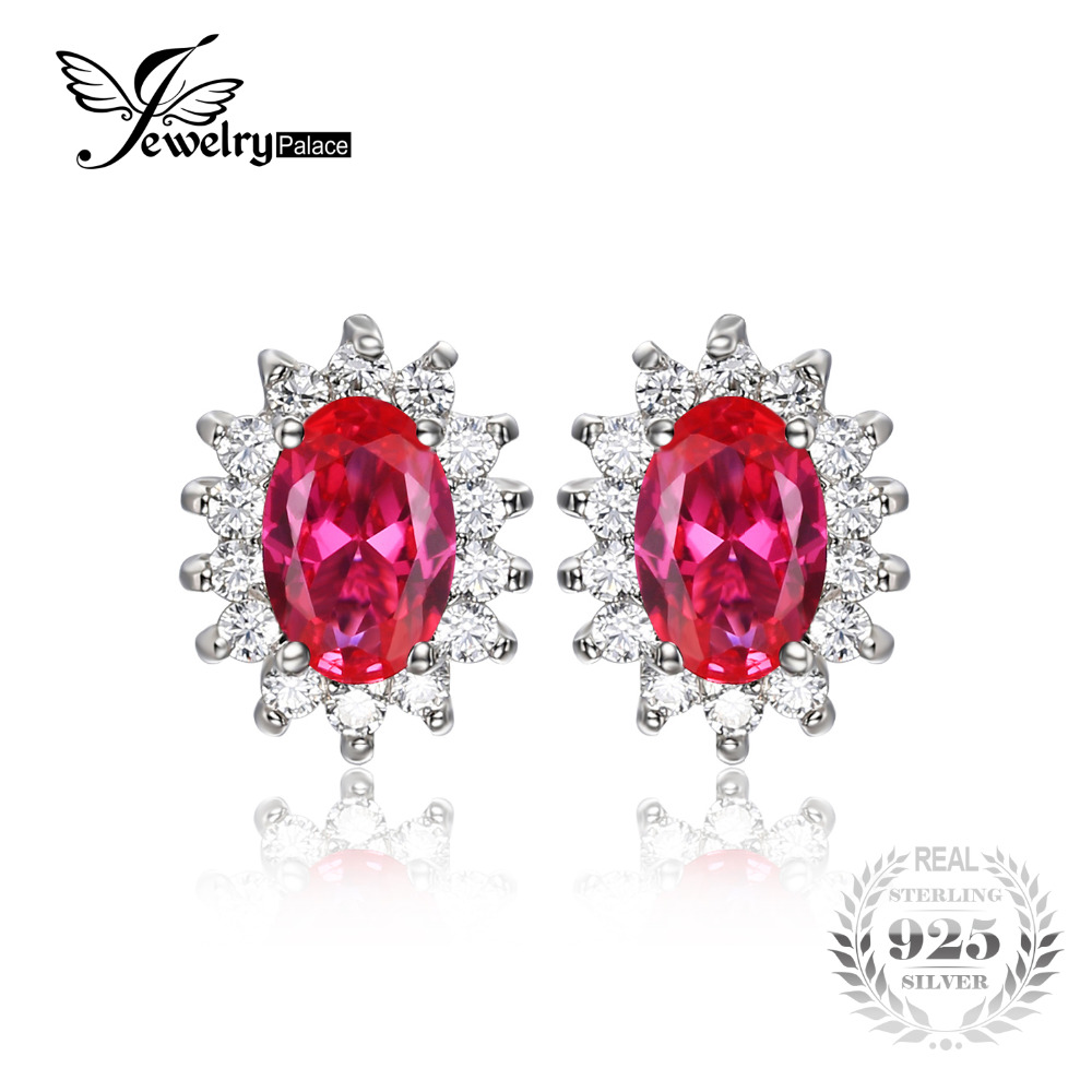Jewelrypalace Princess Diana William Kate Middleton's 15ct Created Red  Ruby Stud Earrings 925 Sterling Silver Wedding Jewelry