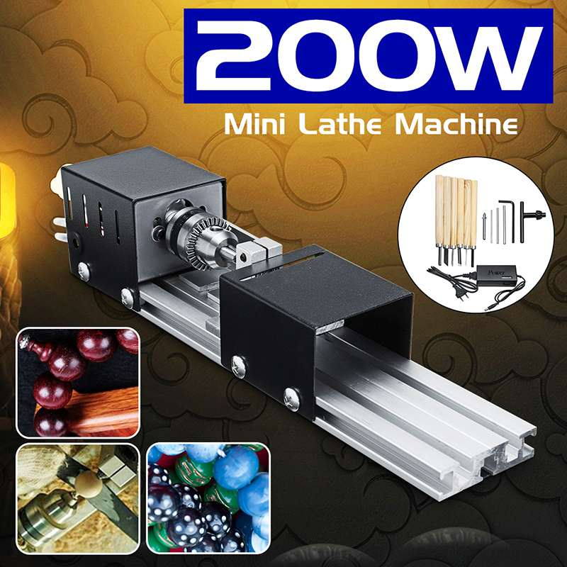 200W Mini Lathe Beads Machine Wood Lathe Diy Woodworking Tool Milling Grinding Polishing Carving Drill Rotary Tool Set