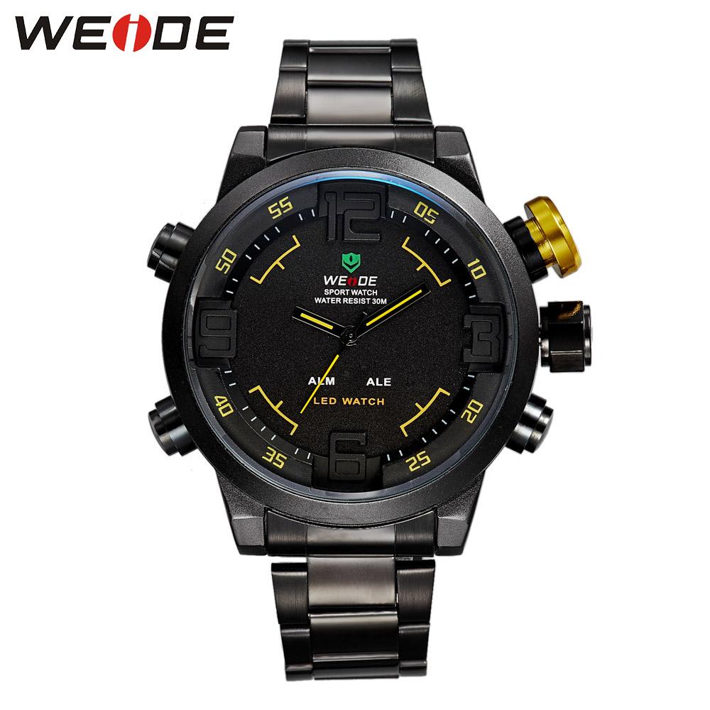 Weide quartz sports wrist watch casual genuine stainless steel silver  dress watch fashion casual men watch quartz contracted ysdx 398 fashion stainless steel self stirring mug black silver 2 x aaa