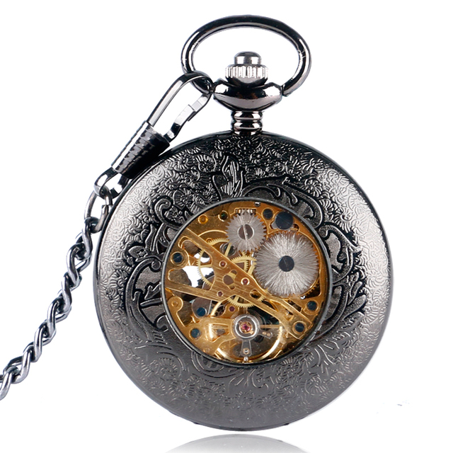 Nurse Fob Watch Necklace Fashion Luxury Hand Wind Birds Retro Steampunk Pocket Watch Flower Black Mechanical Xmas Gift