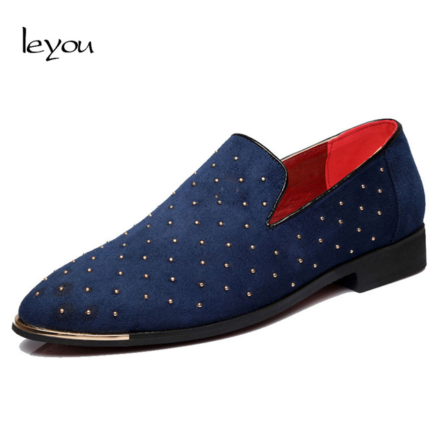 Men Rivet Loafers Shoes Plus Size Moccasin Pointed Toe Casul Shoes Suede Loafers