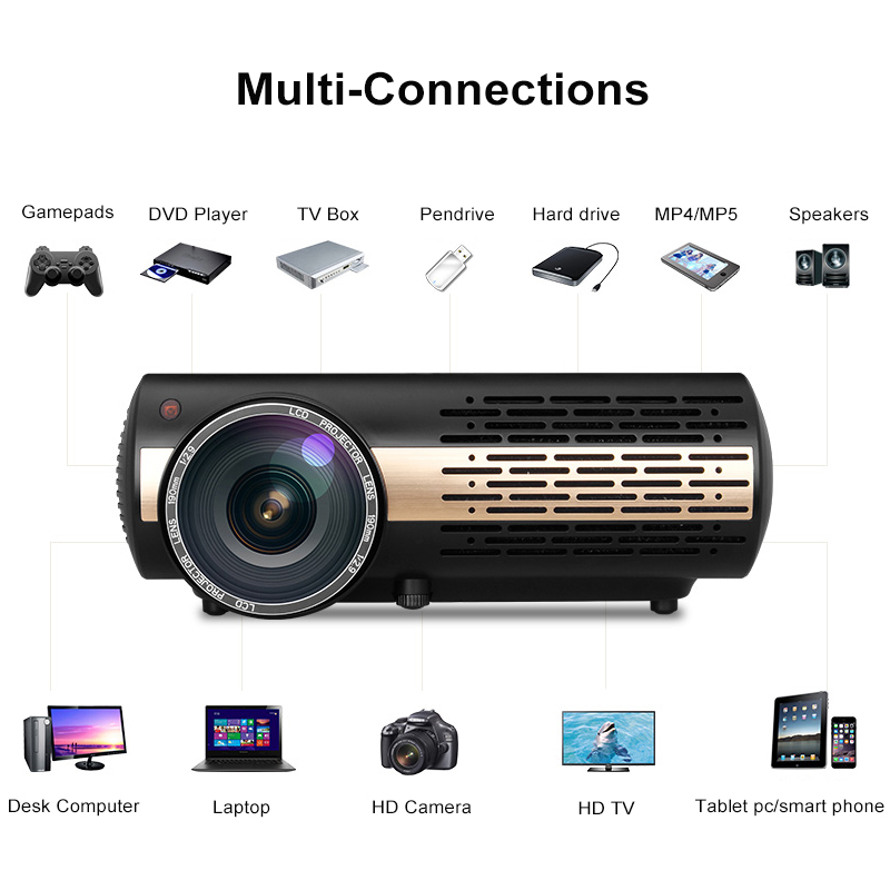 Betrouwbare Poner Saund Hoge Kwaliteit 5500 Lumens Video Projector Voor Full Hd 1080 P Android 6.0 Android Projector Met Wifi Bluetooth Beamer