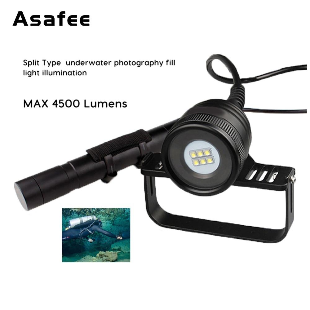 Asafee Scuba Diving Linterna 6 * CREE XM-L2 (U4) LED Buceo - Iluminación portatil