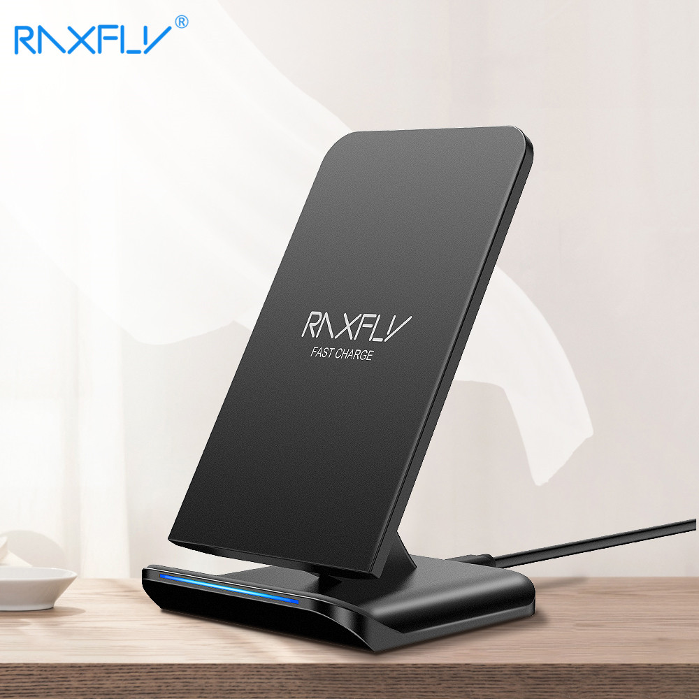 RAXFLY Qi Caricatore Senza Fili per iPhone X XS Max XR 8 Più di 10 w Veloce Senza Fili Dock di Ricarica per Samsung s9 S8 Nota 9 8 Caricatore USB