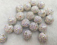 100pcs AB Mystic White Micro Pave Crystal Shamballa Ball Beads 6 14mm Micro Pave Findings Charm