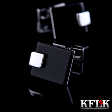 KFLK Jewelry French shirt Fashion cufflinks for mens Brand Black Cuff link Wholesale Wedding Button High Quality Free Shipping cheap Tie Clips Cufflinks jizhijianyueheimanaoK328 Cuff Links Trendy Metal Copper Square Anniversary Engagement Gift Party Wedding