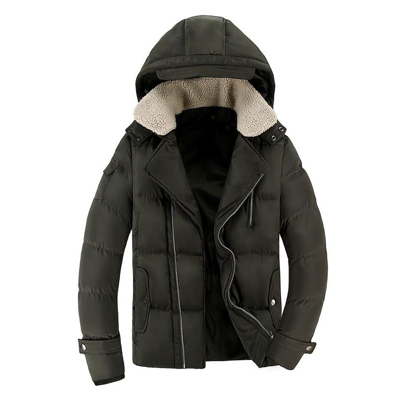 Uwback 2017 Winter Men Parkas Lamb Fur Collar Hooded Down Jackets Male Thick Coats Fashion Warm Zipper Parka Plus Size 3XL XA162