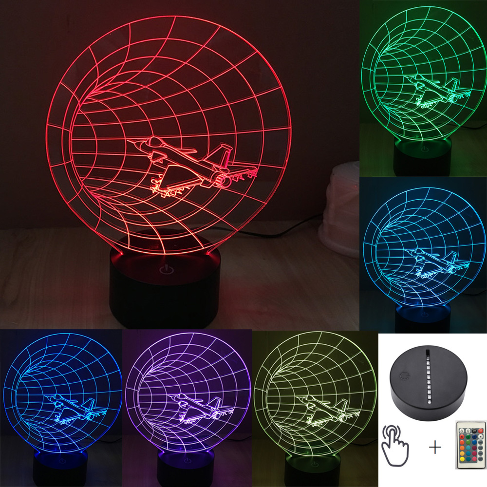 novetly lampara Lava Baby bambino boy kid gift 3D Atmosphere Night Light Airplane Horn Lamp 7 Color Change UFO decoration Blub