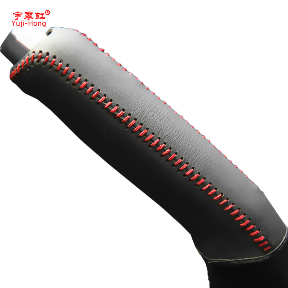 Yuji-Hong Car Handbrake Covers Case For Hyundai Verna 2010 Car-styling Genuine Leather Grips Cover Black/Red Lines