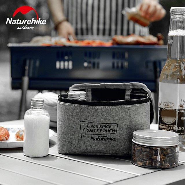 Naturehike 6pcs Spice Cruets Pouch Seasoning Jar Case Condiment Bottles Set Portable Organize Bag For Camping Barbecue Picnic