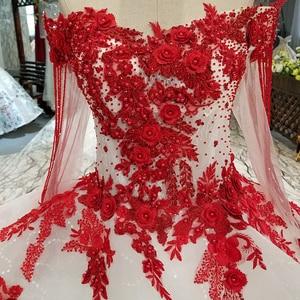 Image 5 - AXJFU white lace princess red flower beading crystal ruffles vintage wedding dress luxury long pearls wedding dress 05410