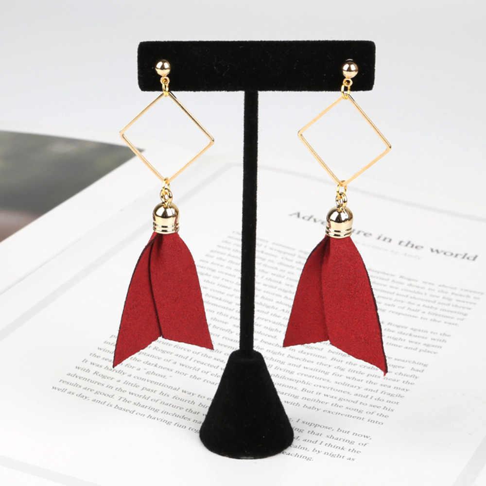 10 teile/los 50*30mm Gold Farbe Kappe Wildleder Stoff Leder Quaste Für Keychain Handy Straps DIY Schmuck Ohrring erkenntnisse