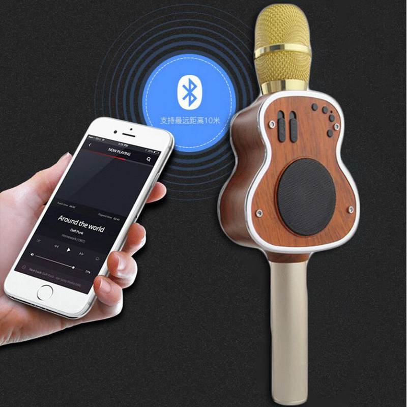 M9 Guitare mikrofon De Poche Bluetooth Sans Fil Karaoké Microphone Téléphone Lecteur MICRO Haut-Parleur Enregistrer de La Musique KTV Microfone PK WS858