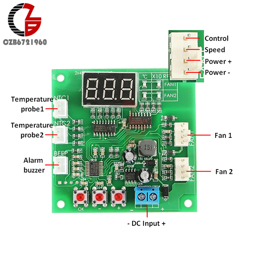 small resolution of 2 channel 4 wire pwm fan temperature controller pc fan motor speed controller led digital thermostat dc 12v 24v heat sink in motor controller from home