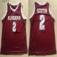 INDCOLTS Men Alabama #2 Collin Sexton Red White Stitched College Basketball Jerseys S 4XL For Mens Shirts Sewn