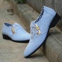 Bahar Ve Yaz erkek Iş Rahat Bez Ayakkabılar Eğilim Erkek Kravat Sivri Nefes İngiliz Gelgit