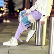 Ribbon Purple Pants Men Pocket Cargo Drawstrings Track Ankle Length Hip Hop Harem Joggers Pants Man