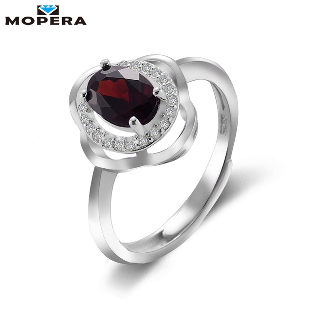 mopera 100 natural gemstone classic 57mm 1ct garnet wedding ring for women 925 - Garnet Wedding Ring