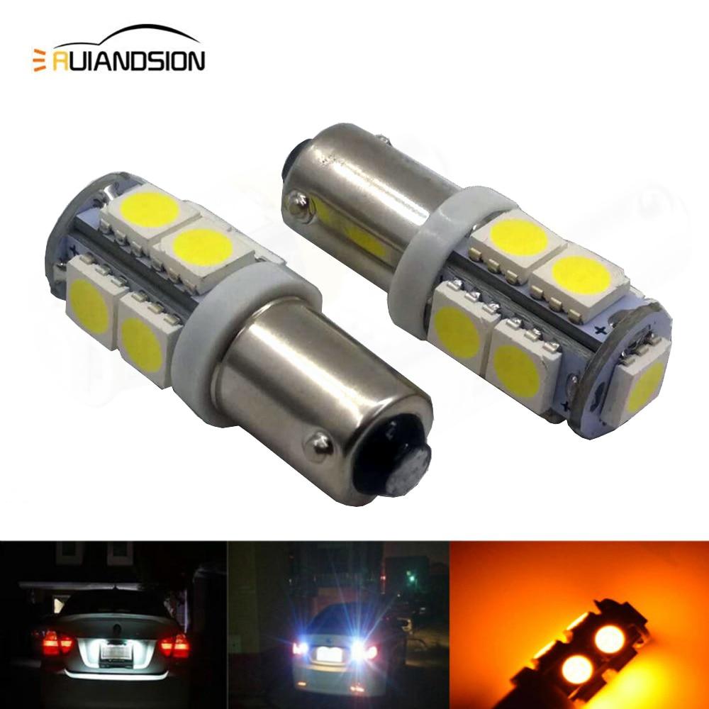 2X Yellow BA15D P21W 1157 Car Backup Reverse Head Light Brake Lamp 9 In-line LED