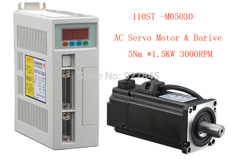 1 set 110ST-M05030 AC SERVO MOTOR 5.0N.M 1.5KW WITH DRIVER AND CABLE 2 sets ac servo motor 4n m 1000w with driver and cable 80st m04025