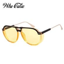 a6b089be726 WHO CUTIE 2018 Luxury CLUB3 Sunglasses for Women Brand Design High Quality  Steampunk Sunglass 90s Pilot Sun Glasses Shades OM724