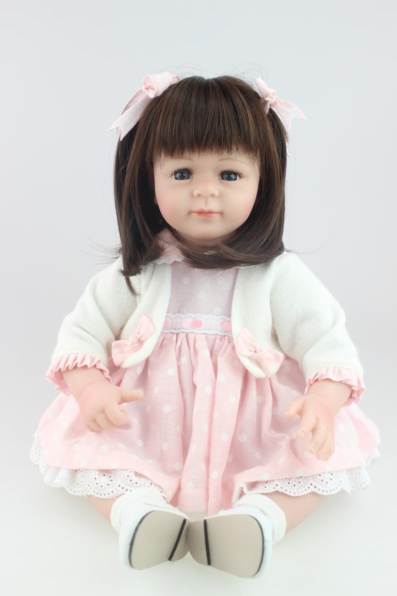 Silicone Reborn Dolls Sleeping Baby Toy Vinyl Pink Princess Doll Soft Silicone Doll Girl Simulation Dolls Kid's Birthday Gift