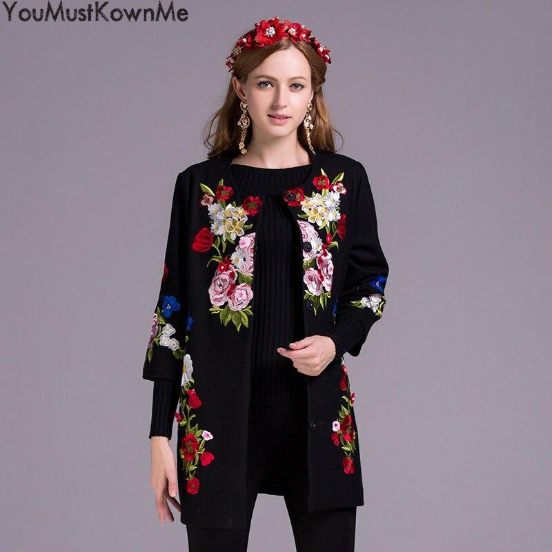 9953963ab4e Femmes Automne Manteau Trench Broderie Youmustknowme Hiver Black Femelle Haute  Trimestre Fleur Trois Pardessus Long Qualité Vintage dBw5Hq