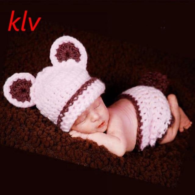 9c67a15cdb7e5 Chat Nouveau-Né Bébé Fille Garçon En Tricot Crochet Vêtements Mignon Chapeau  + Slip Costume