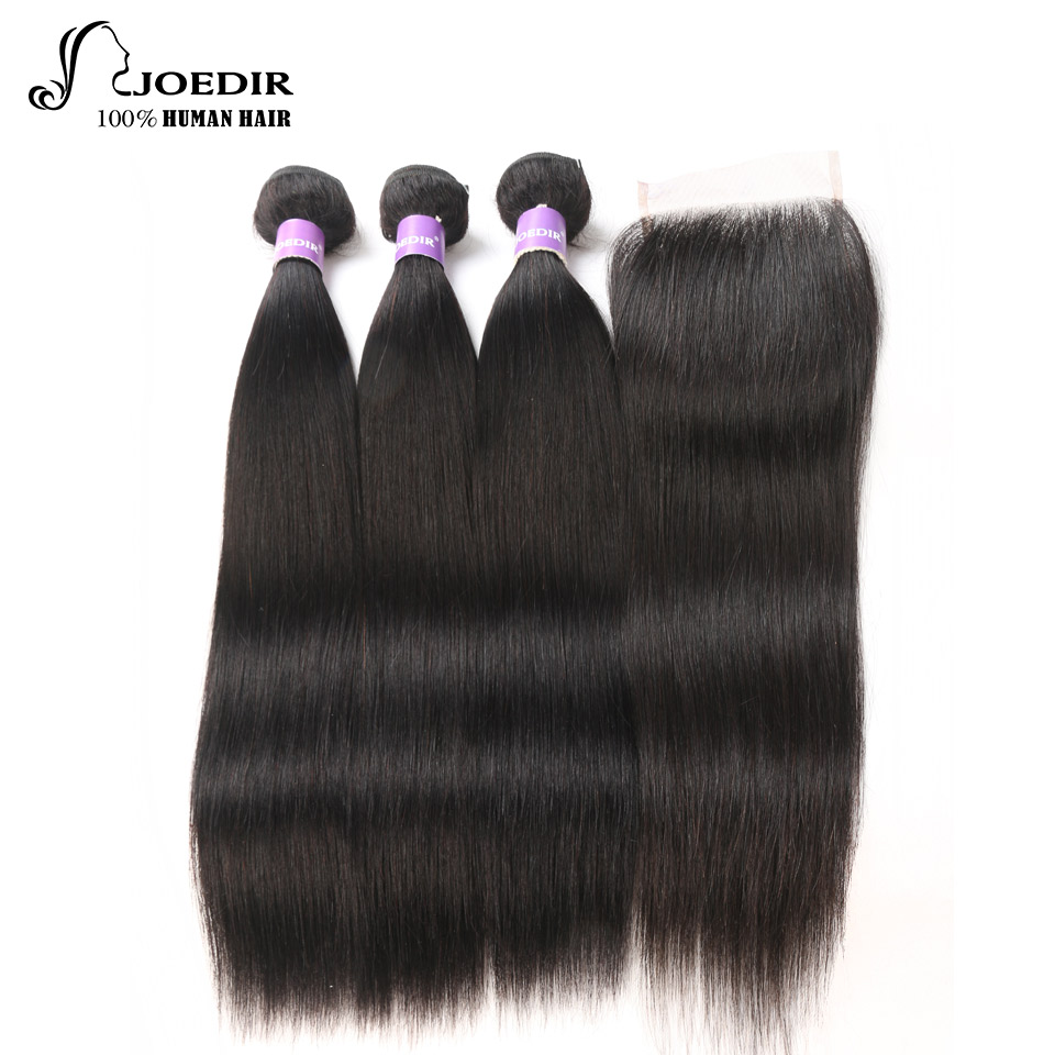 Joedir Pre-Color Peruvian Straight Hair Bundles With Closure Human Hair Weave 3 Bundles with 4*4 lace frontal Closure