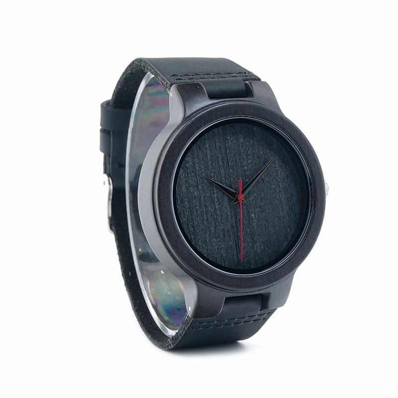 Image 4 - BOBO ptak WC22 drewno hebanowe zegarek z czerwona wskazówka skórzany pasek japan miyota 2035 mechanizm kwarcowy zegarki dla mężczyzn kobietywatch forwatches for menwatch with -