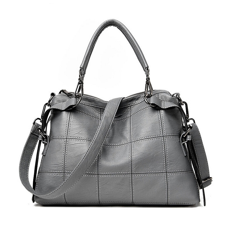 2017 Soft Leather Bag Large Women Leather Handbags Famous Brand Gray Women Tote Bags Big Ladies Black Shoulder Bag Bolsos Mujer women leather bags handbags women famous brands big casual women bags tote spanish brand shoulder bag ladies large bolsos mujer