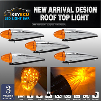 KEYECU 5x 17 LED Amber Chrome Torpedo Cab Marker Clearance Roof Running Top Light Assembly for Heavy Duty Trucks Kenworth