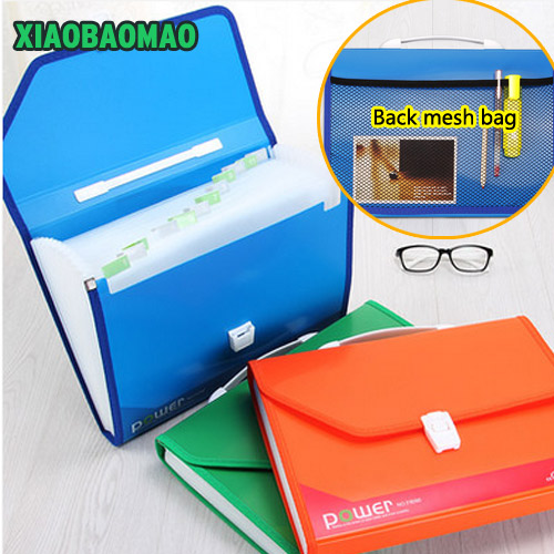 A4 File Folder 13 Index Pockets Layers Document Study Working Expanding Wallet Organizer School Bag with Back mesh bag simple plastic 5 section index band folder document file storage organizer filling stationery a4 size expanding wallet 4 colors