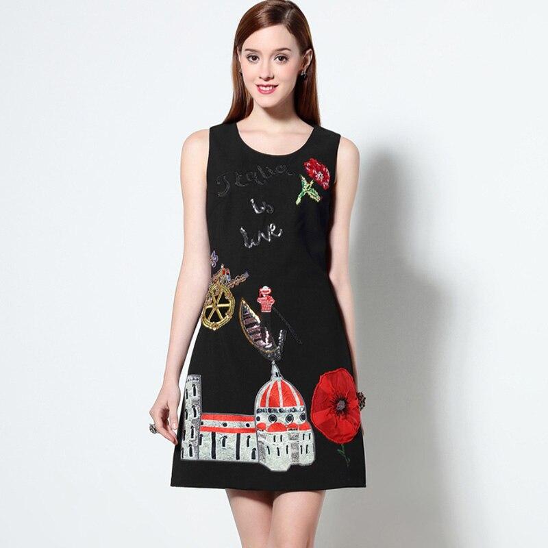 2016 kadınlar Pamuk Elbise Nakış Karikatür Gündelik Elbise - Bayan Giyimi - Fotoğraf 5