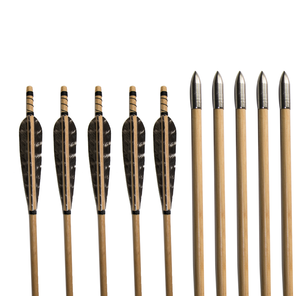 Custom Wood Arrow 32 Turkey Feather Hunting Wood Arrows with Fixed Target Steel Point for Longbow