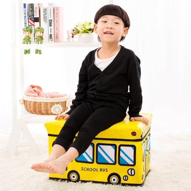 Creative Children's Toys Car Stool Cartoon PU Material Finishing Storage Stool Capacity Most Of The Features Folding Child Stool