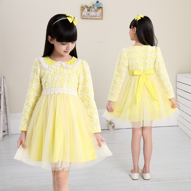 2015 Girls Mesh Lace Doll Collar Princess Dress Children Spring Autumn Long Sleeve Dress Kids Summer Clothes Children Clothing girl children floral blouse shirt spring autumn long sleeve doll collar girls thin chiffon blouses tops for teen 13 14 15y fb300