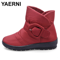 YAERNI Women Snow Boots Winter Women Flat Low Tube Boots With Plush Warm Cotton Shoes Waterproof