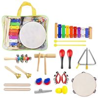 22 Pcs Toddler Musical Instruments Set Percussion Instrument Toys Toddler Musical Toys Set Rhythm Band Set Birthday Gift for Kid