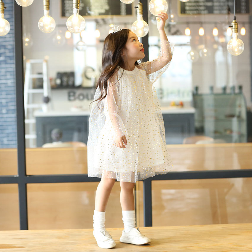 Summer Dress 2017 Shiny Star Pattern Girls  Yarn  Cotton Lined Princess Dress Double Layer O-neck Kids Dresses for Girls star island summer