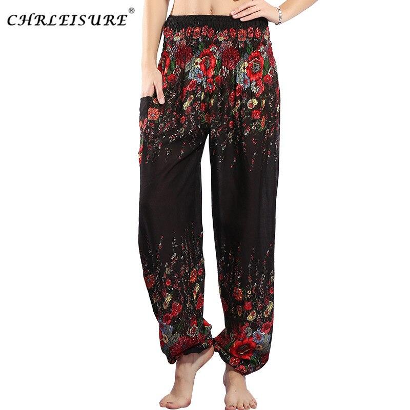 CHRLEISURE 2017 Mujer Pantalones Harem de cintura alta pantalones florales  bohemios moda verano Pantalones de playa suelta Pantalon mujer 5 colores en  ... 8be101befb8e