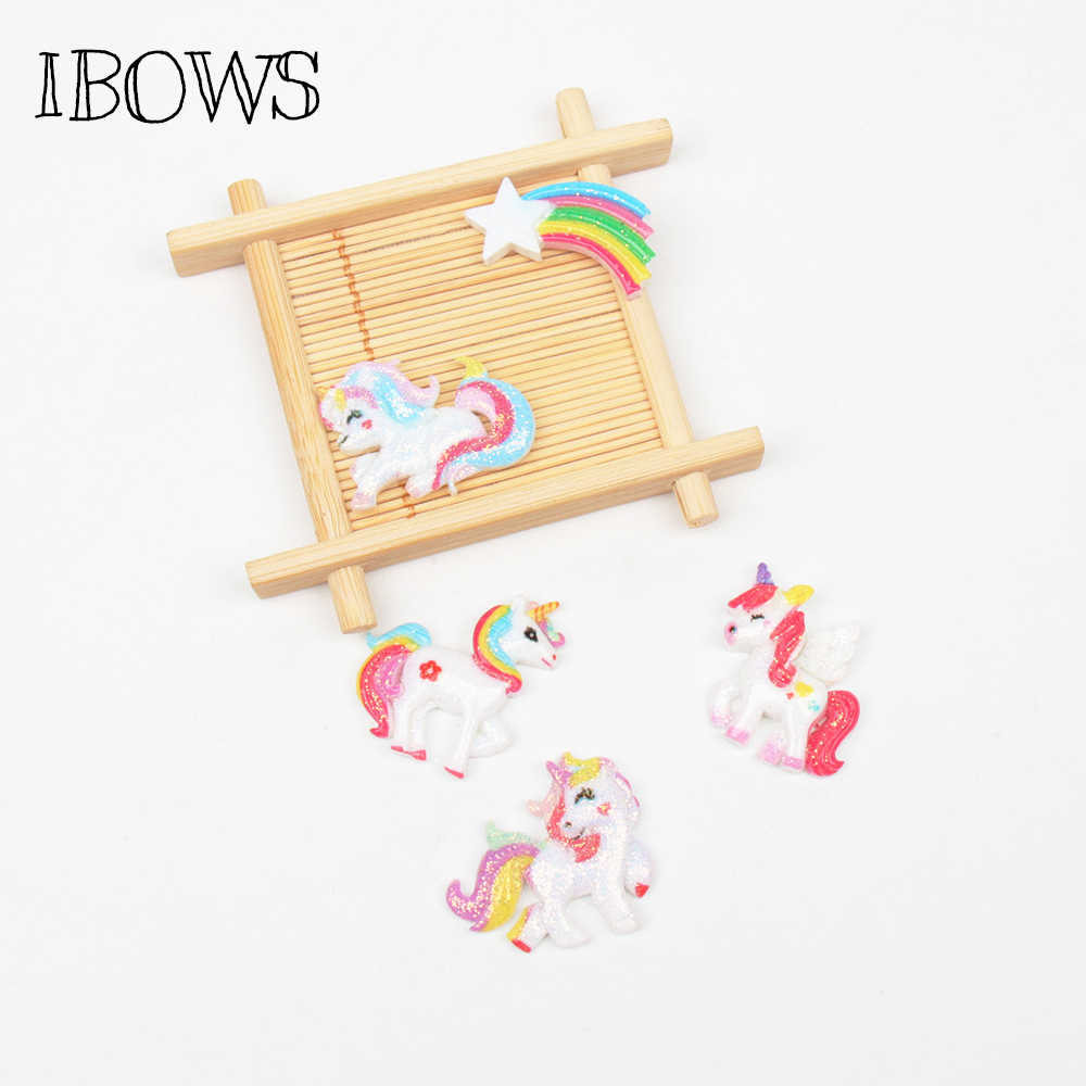 IBOWS 10pcs Flat Back Resin Glitter Shiny Rainbow Horse Resin Cabochon for Phone Decoration Hair Bow DIY Scrapbook Embellishmen