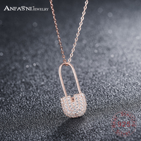 ANFASNI Unique Luxury Necklace 925 Sterling Silver Tiny CZ Pave Pin Necklace For Women Gros Collier