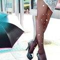 Nova Moda Rendas Pérola Perfuração Manual de Venda Quente Meias Meias Calças Justas Meias De Veludo Strass Mulheres Diamante Shinning