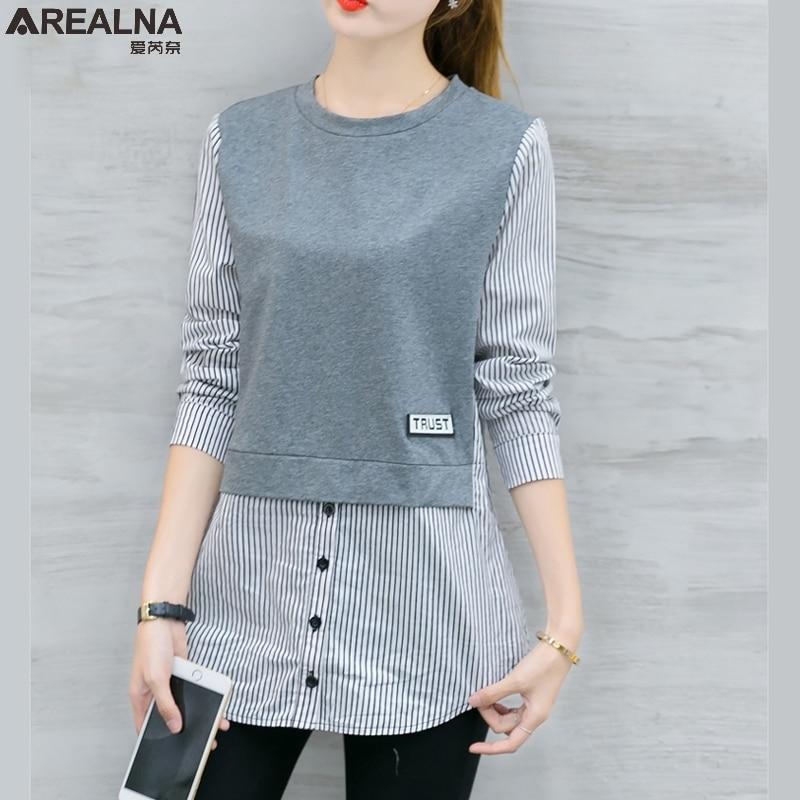 Женская блузка с длинным рукавом в Корейском стиле, Повседневная Свободная блузка в полоску, в стиле пэчворк, осень 2019|blusas style|women blouseslong sleeve blouse | АлиЭкспресс