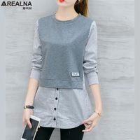 2017 Autumn Korean Style Long Sleeve Blouse Shirt Women Tops Casual Striped Patchwork Fake Two Pieces