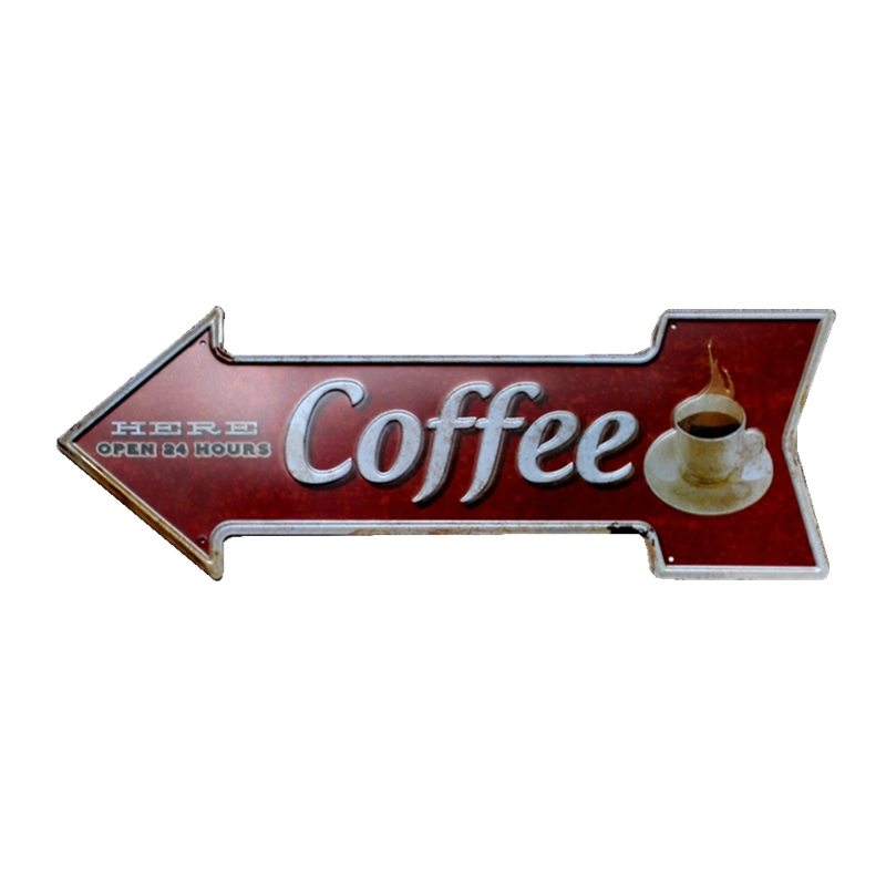 Arrow Coffee Tin Sign Metal Plate Vintage Bar Coffee Pub Cafe Decorative Advertising Boa ...