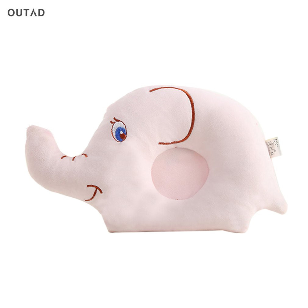 OUTAD Baby Cartoon Elephant Pillow Anti-Roll Prevent Flat Head Sleeping Position For Newborn Baby Soft Fabric Animal Pillows New