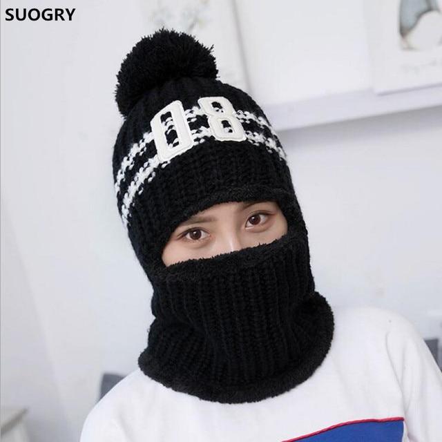 cf9bc7d58dd54 1pc Windproof Men Winter Wool Ski Hat Scarf Cap for Women Bonnet Earmuffs  Head Caps Hats